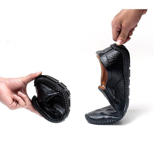 Giày nam lười da bò dập vân cá sấu cao cấp