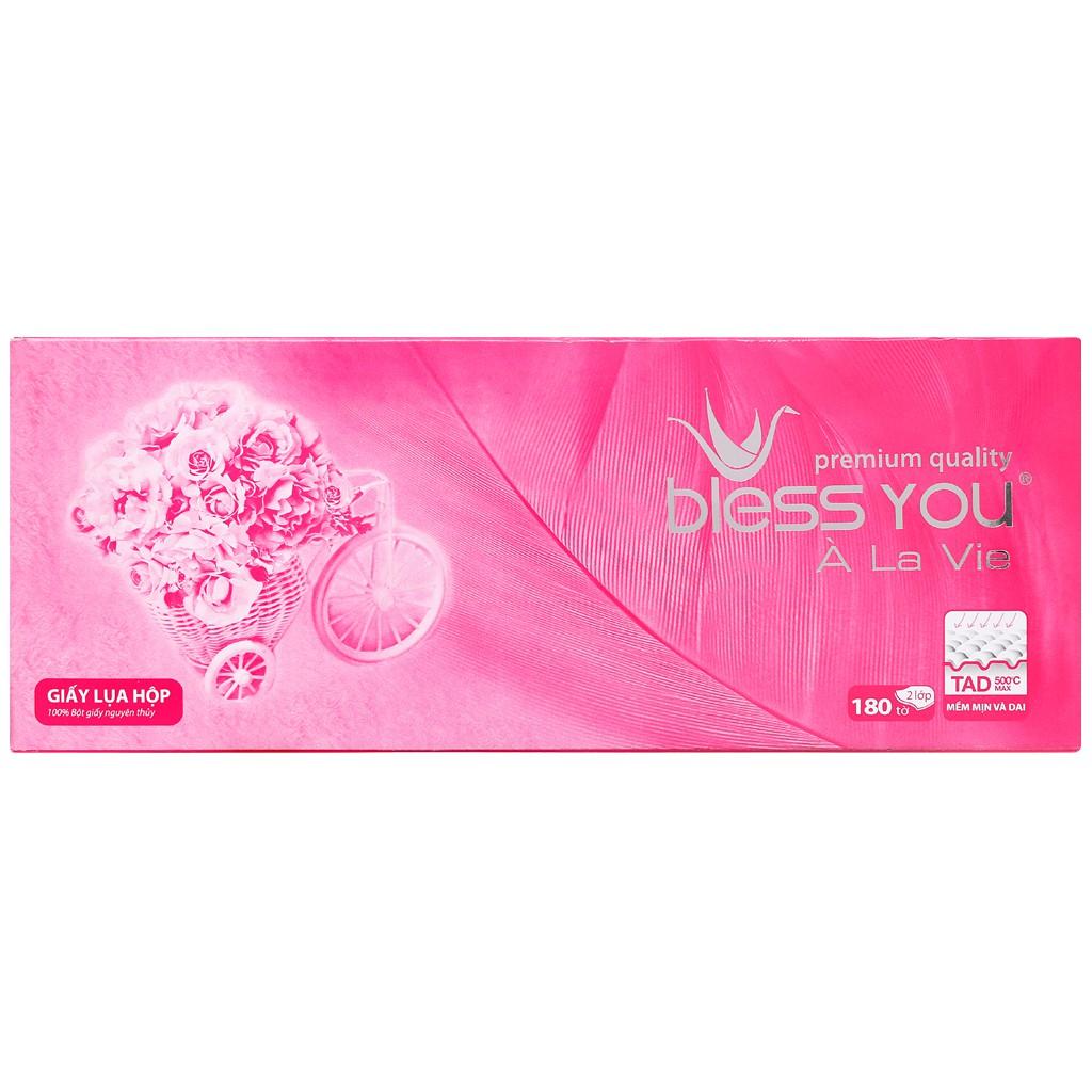 Khăn giấy lụa 2 lớp Bless You A La Vie Premium quality ( 180 tờ/ hộp)