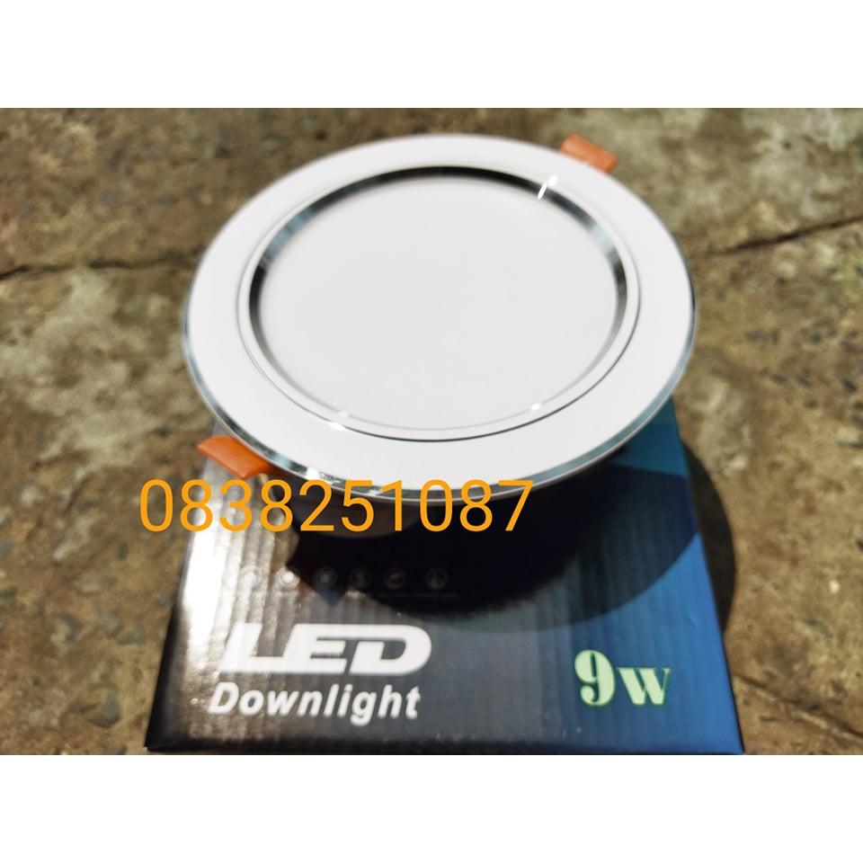 Đèn âm trần 9W 3 màu viền bạc