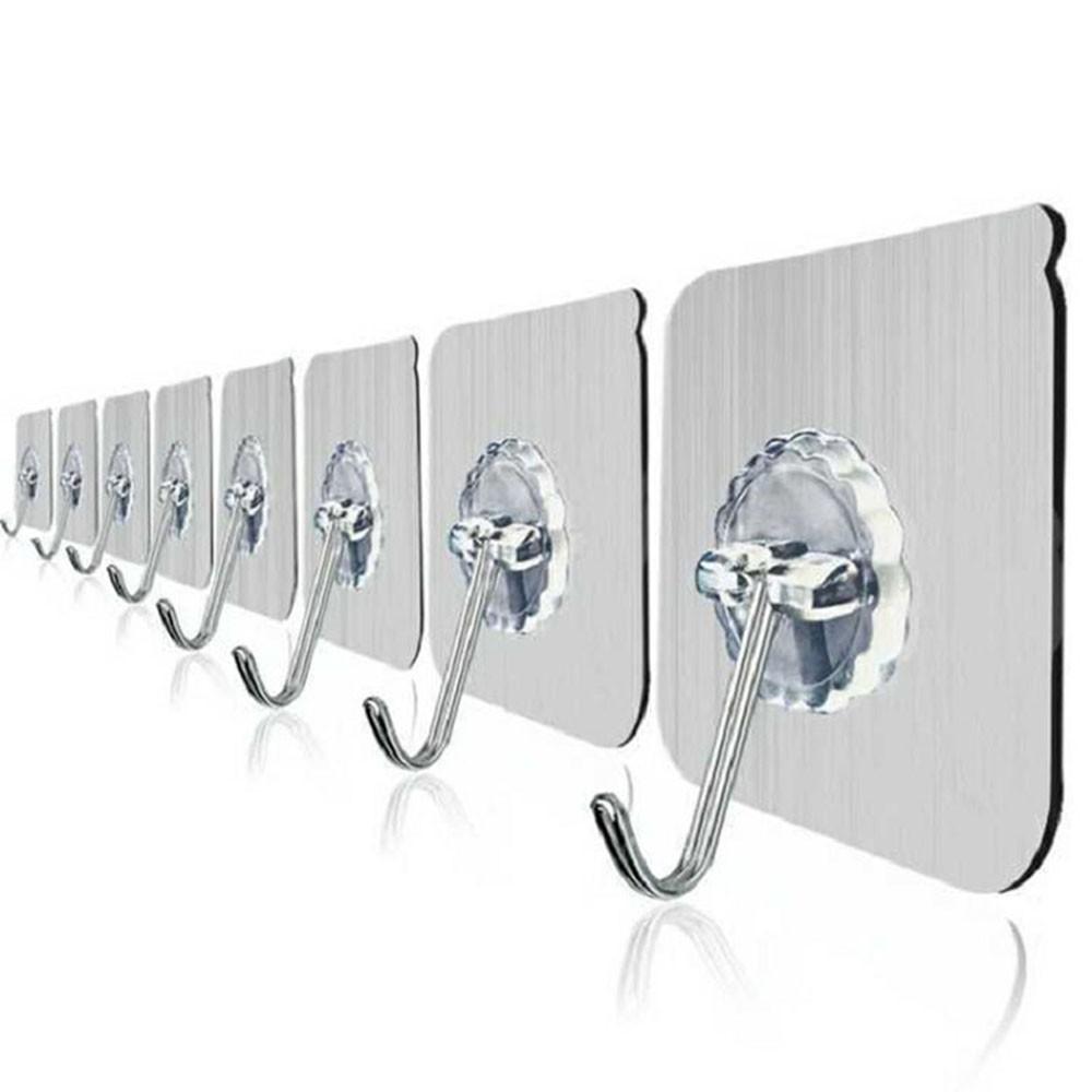Móc dán tường chịu lực , bộ 10 móc dán tường siêu dính trên gạch men, kính