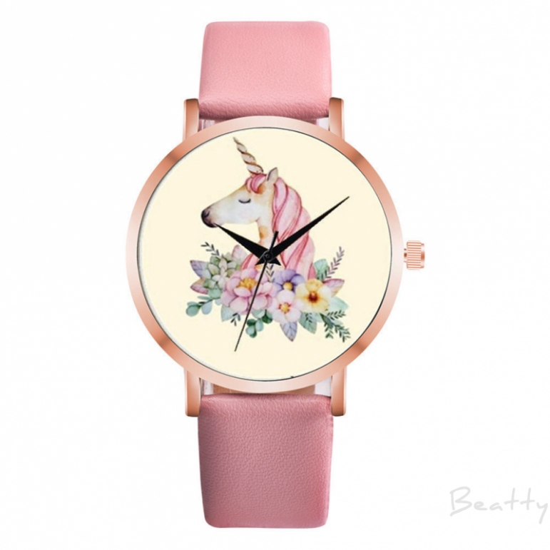 Beatty Girl Boy Unicorn Analog Leather Faux Wrist Watch Creative Unique Watches
