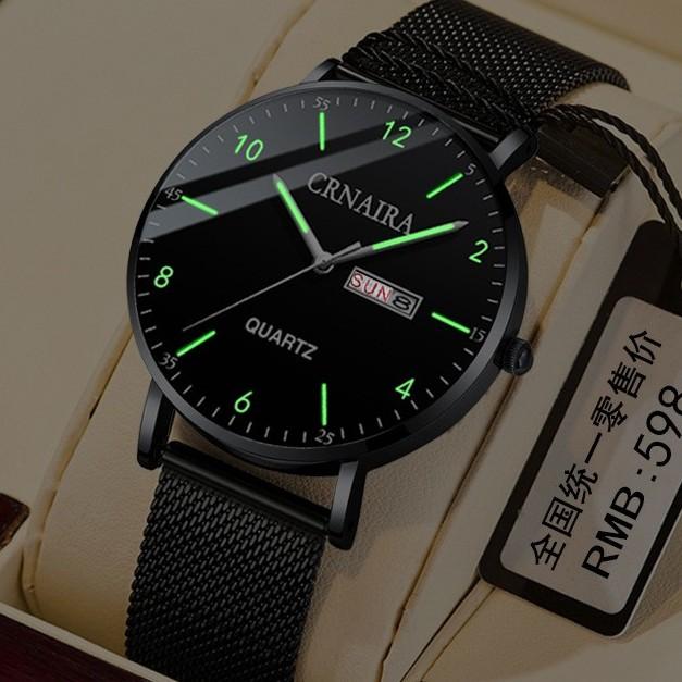 Đồng hồ nam Crnaira siêu mỏng italia đồng hồ  học sinh trung học xu hướng 2020  chống nước 3ATM Kim dạ quang phát sáng