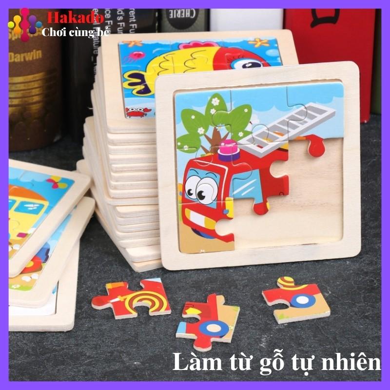 Đồ chơi xếp hình, Tranh Ghép gỗ 9 mảnh size nhỏ 11×11 cho bé