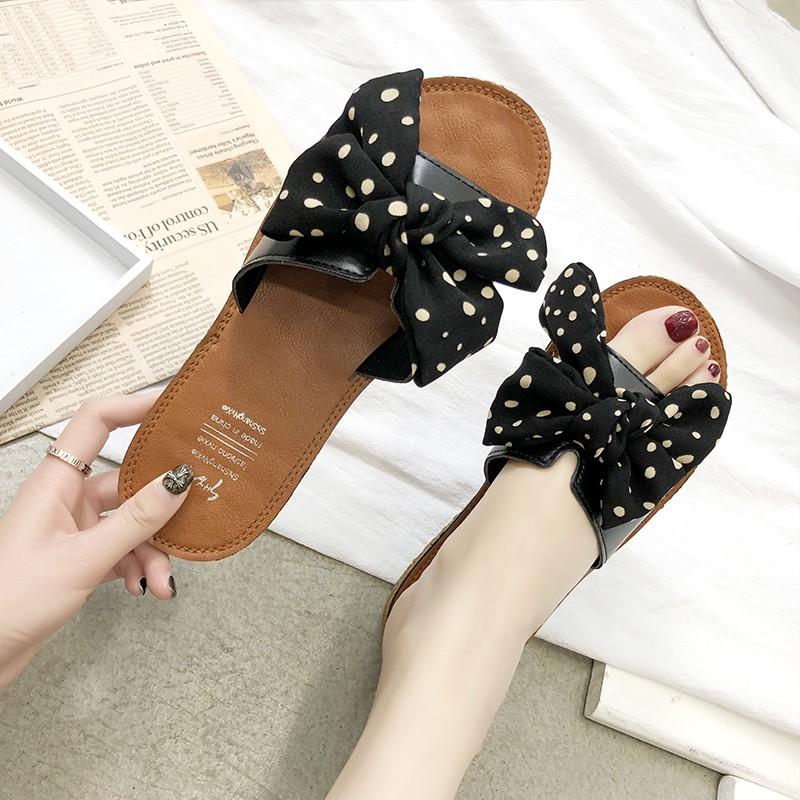 2019 fashion bow polka dot slippers female summer comfortable soft bottom wear v