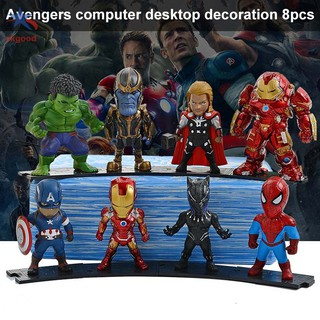 8Pcs Mini Avengers Action Figures Iron Man Thanos Spiderman Desk Model Decor