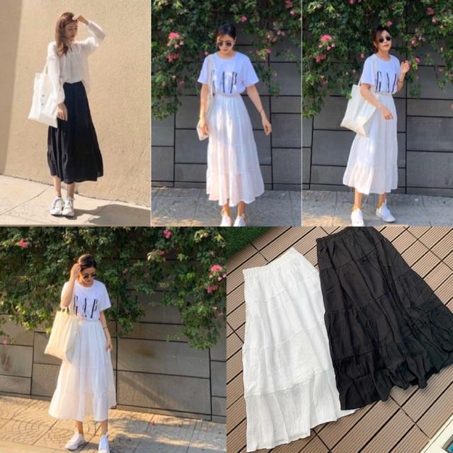 Chân váy tầng from dài Ceci Skirt from chuẩn dễ mix có 2 màu trắng và đen chất liệu vải tằm xước có lót trong lưng thun