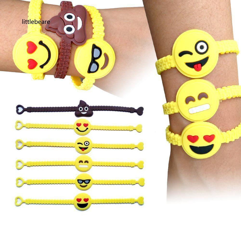 LLBA_Novelty Cute Emoji Design PVC Rubber Wristband Bracelet Unisex Jewelry Gift