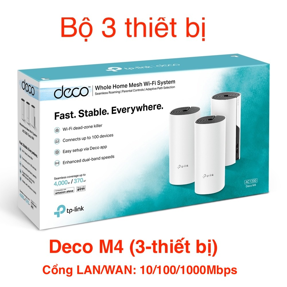 TP-Link AC1200  Hệ thống Wifi Mesh cho Gia đình cho độ phủ wifi tuyệt vời - Deco M4(3-pack)/E4(3-pack)- Hàng Chính Hãng