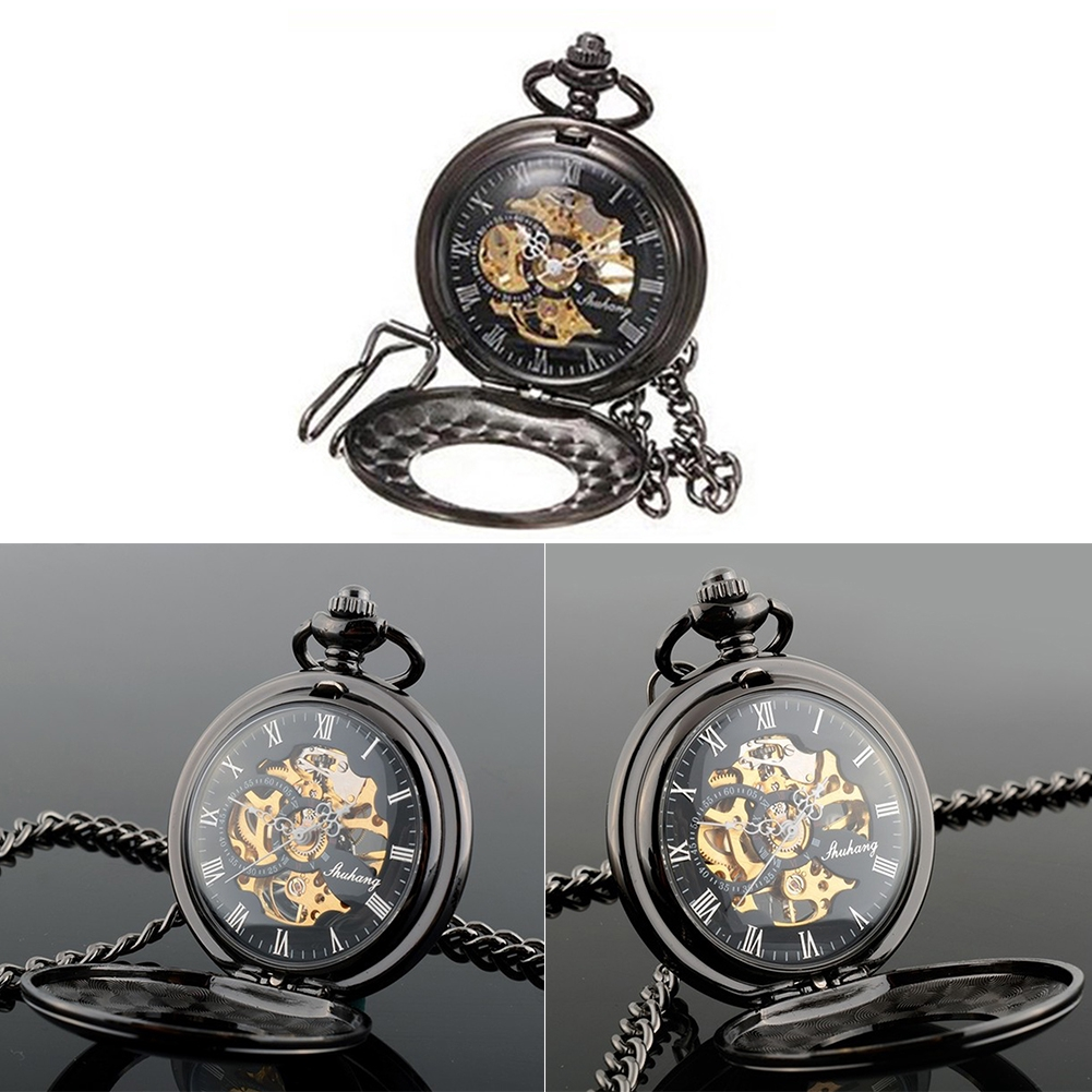 Flip Pocket Watch Automatic Smooth With Hook Removable Chain Mechanical Roman Hollow Retro Classic