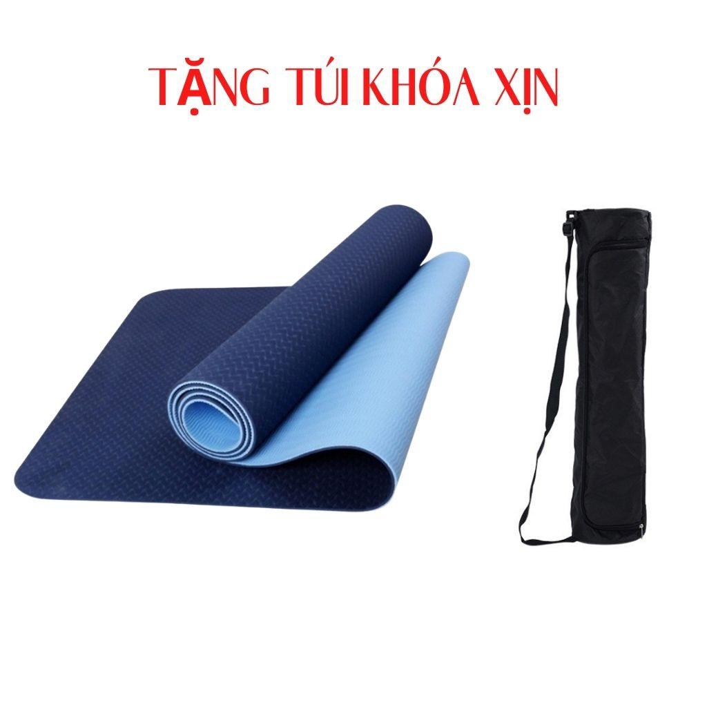 Thảm yoga FREESHIP THẢM TẬP YOGA TPE 2 LỚP dày 6mm TẶNG TÚI KHÓA XỊN