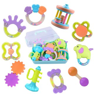 10Pcs/set Infants Teething Play Toys Tear-resistant Baby Rattles Teething Ring