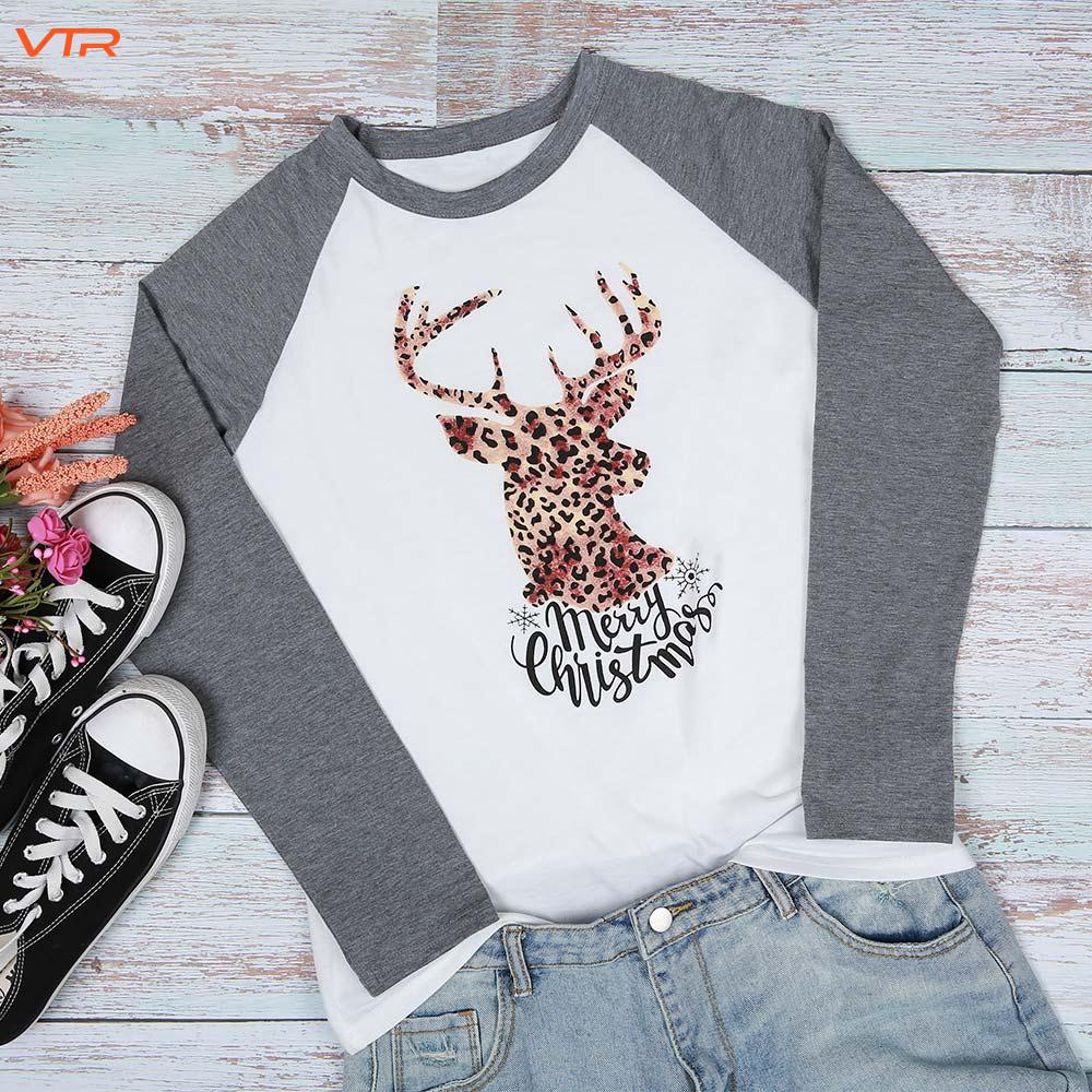 V Long Sleeve T-Shirt Leisure T - Shirt Christmas T-Shirt Color Matching Round Neck Printing Cotton Loose Fit Sports