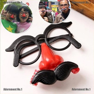 [AdornmentNo1] Funny Clown Glasses Costume Ball Round Frame Red Nose w/Whistle Mustache