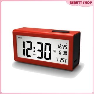 Digital LCD Electronic Smart Alarm Clock with Backlight Indoor Temperature Calendar Time Date Nightlights Display Snooze Table Clock
