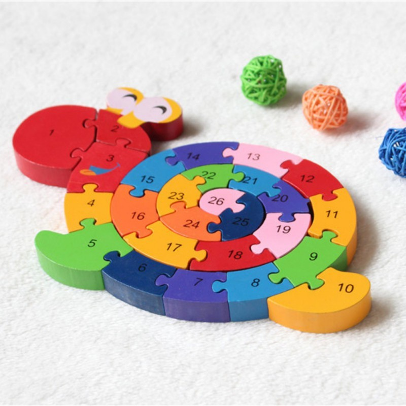BOBORA Funny English Alphabet Snails Puzzle Assembled Building Blocks Wooden Toy Educational Toys