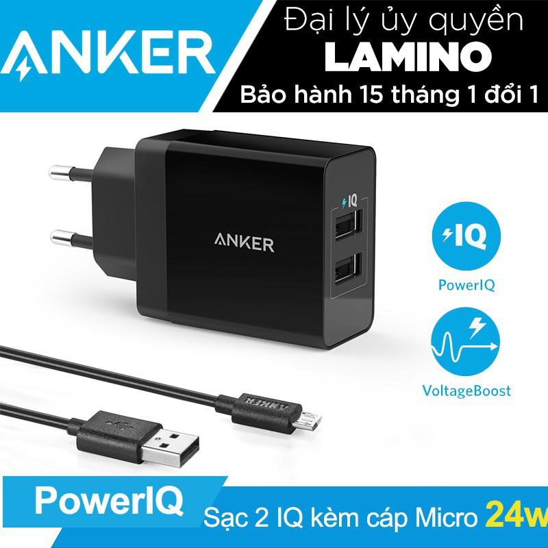 Sạc ANKER PowerPort 2 cổng PowerIQ 24w EU kèm cáp MicroUSB dài 0.9m