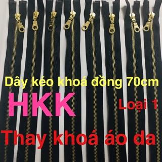 [Mã FASHIONT4MA2 giảm 10K đơn 50K] Dây kéo khoá đồng HKK răng#5 dài 70cm chuyên thay áo da xịn
