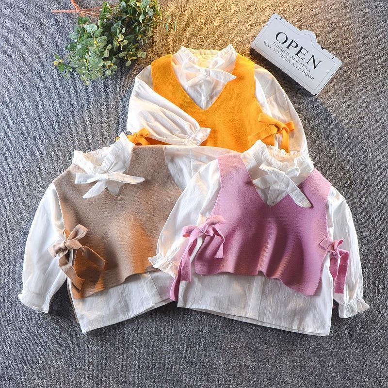 Áo tay dài có nơ và quần cotton màu trơn cho bé gái