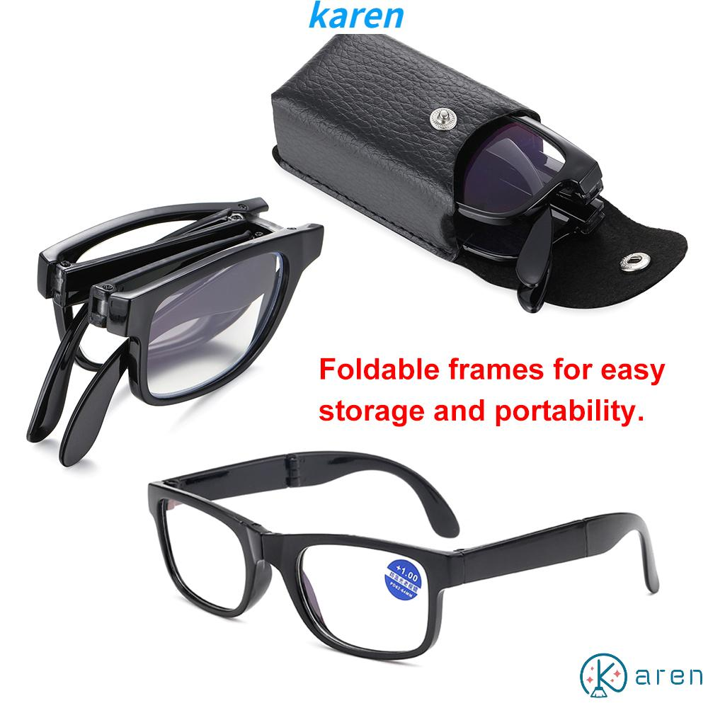 👗KAREN💍 Unisex Presbyopic Glasses Vision Care TR90 Reading Glasses Folding Reading Glasses Portable Diopter +1.0~4.0 Anti Blue Light with Glasses Case Eyewear Compact Reading Glasses black/leopard/leopard