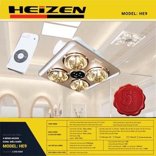 Đèn sưởi âm trần Heizen HE9 4 bóng dùng điều khiển - Bảo hành 5 năm toàn bộ đèn