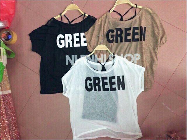 Set áo kiểu [Tay cộc] ( bao gồm áo 2 dây ) GREEN hàng QUẢNG CHÂU