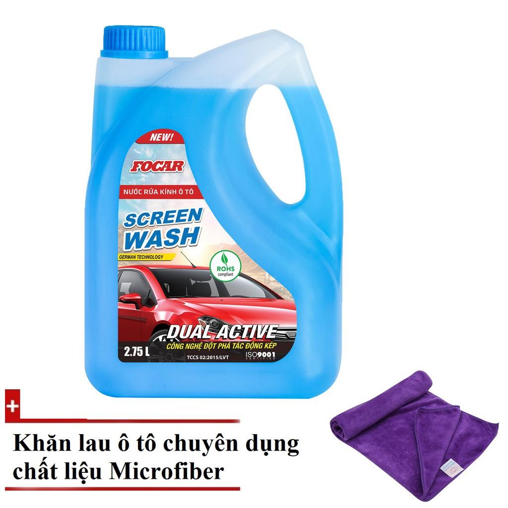 Nước rửa kính ô tô Focar 2.75L + Khăn lau kính ô tô chuyên dụng