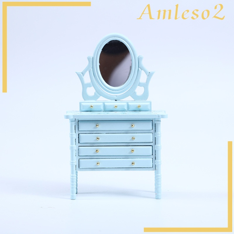 [AMLESO2] 1:12 Scale Doll House Vanity Birch Table Furniture Dressing Table Model Kids Play DIY Dresser Table Desk with Drawers Bedroom Decoration Accessories