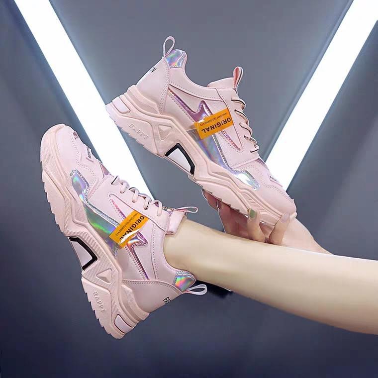 Combo giày thể thao nữ đế cao HAPU vạch phản quang ORN tặng kèm tất