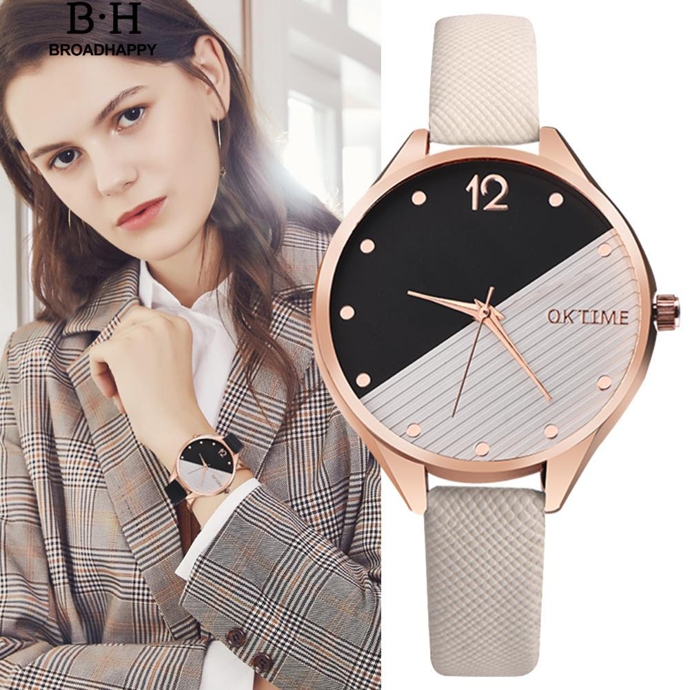 Casual  Dial Leather Band Analog Quartz Wrist Watch