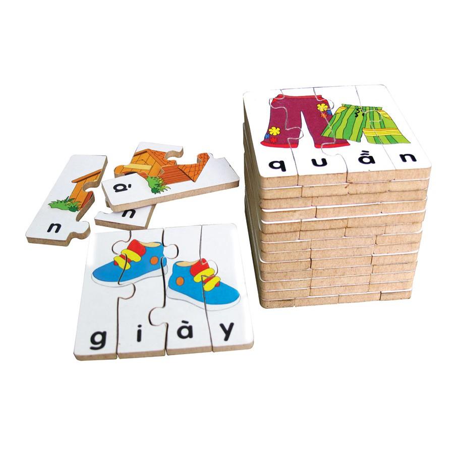 [Mã TOYMALL7 hoàn 20K xu đơn 50K] Đồ chơi gỗ ghép hình học chữ tiếng việt 2 winwintoys