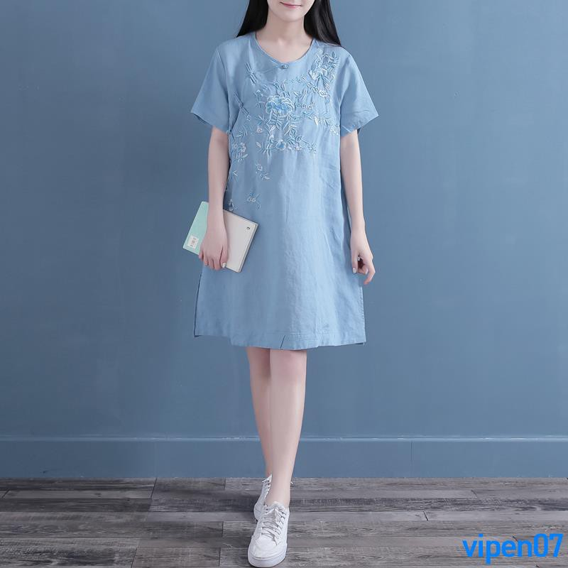 Full order 250000shipmentsQing dynasty Chinese style short-sleeved cotton and linen blouse female summer dress long sect