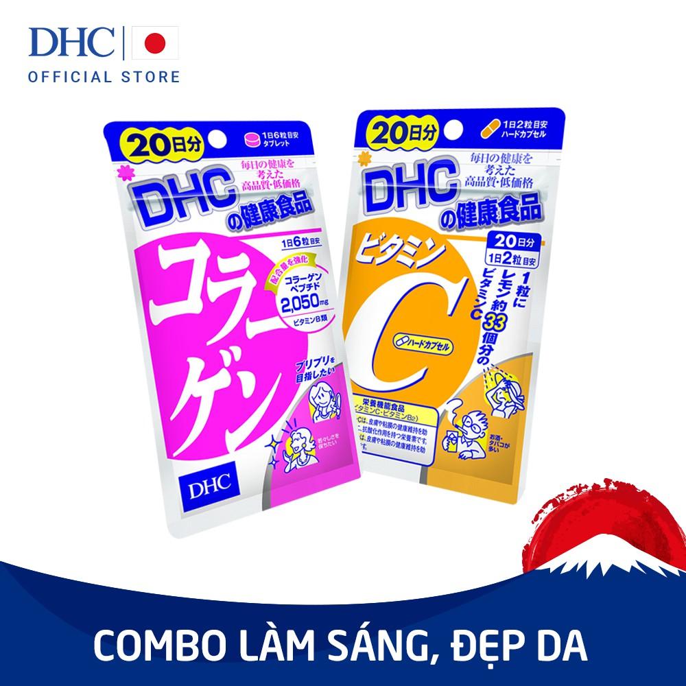 Combo Viên uống DHC Làm sáng và Đẹp da 20 ngày (Collagen & VitC)