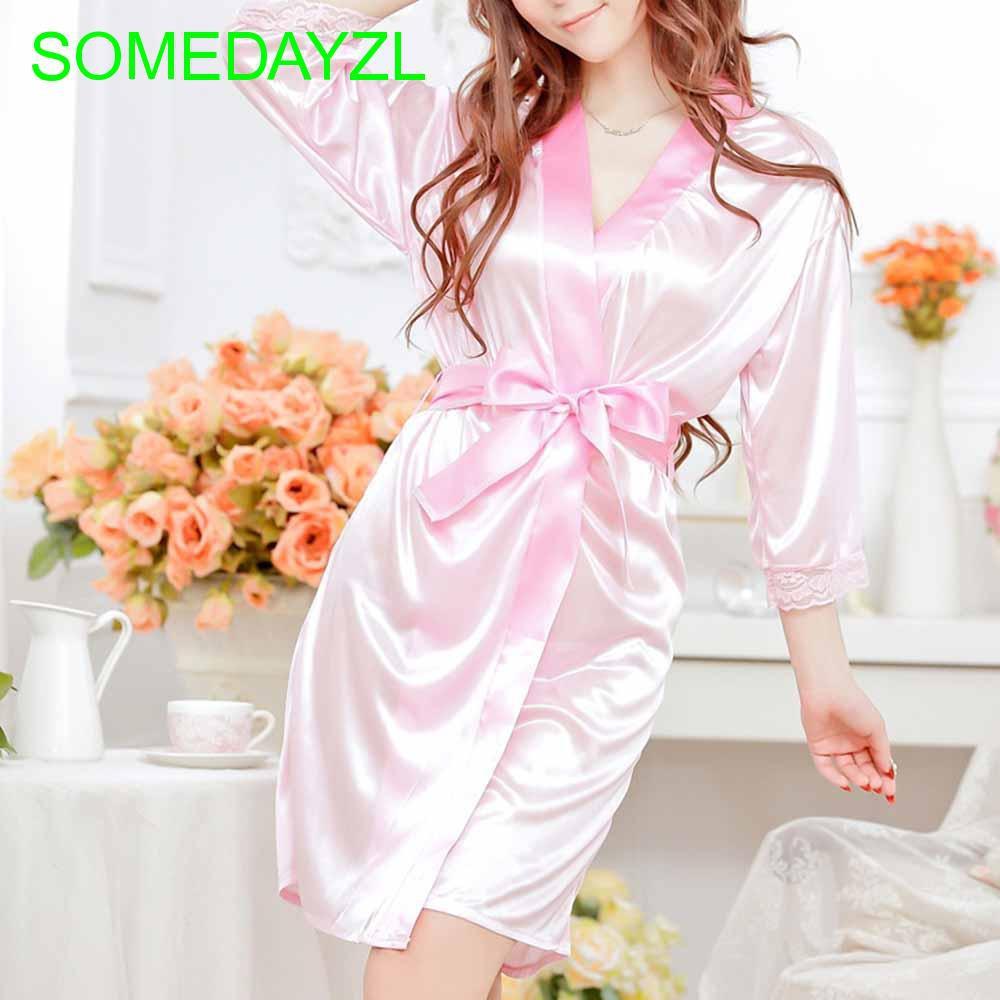 Đầm lụa satin màu trơn phối ren gợi cảm cho nữ