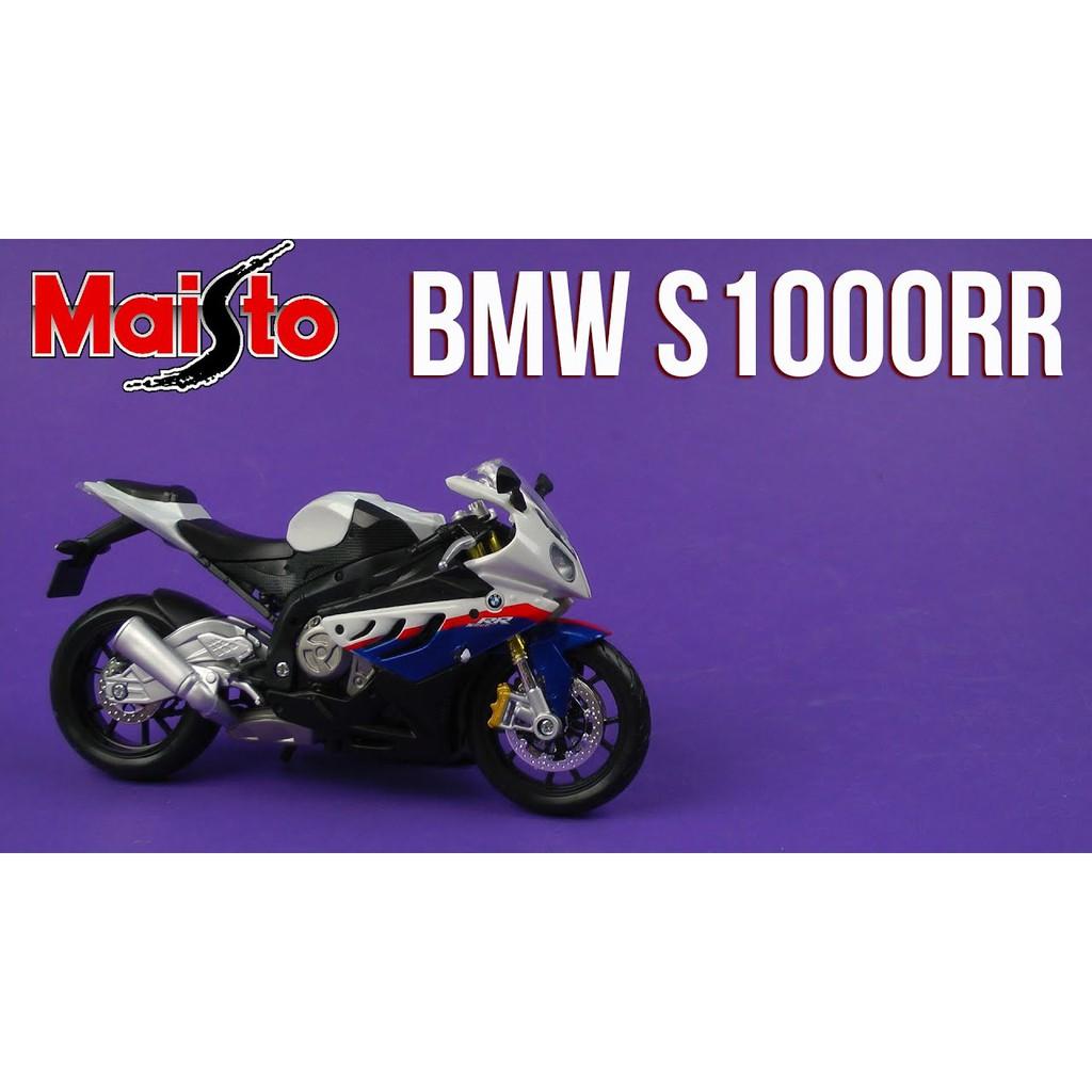 MÔ HÌNH XE MÁY BMW S1000RR WHITE BLUE 1:12 MAISTO
