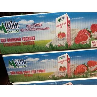 thùng sữa chua uống mộc châu vị dâu 48 hộpx180ml
