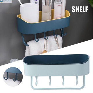 Punch-Free Wall Mount Hanging Shelf Double Layer Shower Rack with Toewl Hook Strong Adhesive for Bathroom Kitchen