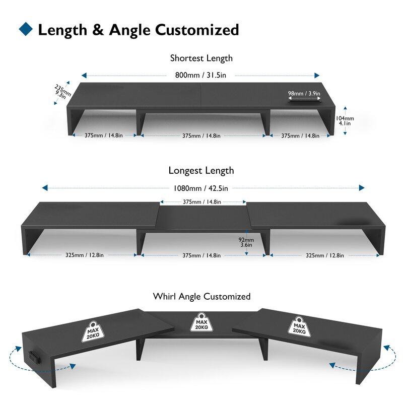 Kệ gỗ để 3 màn hình máy tính FAS.DUAL nâng màn hình lên đến 10.4cm / Giảm căng thẳng cổ / bàn làm việc gọn gàng