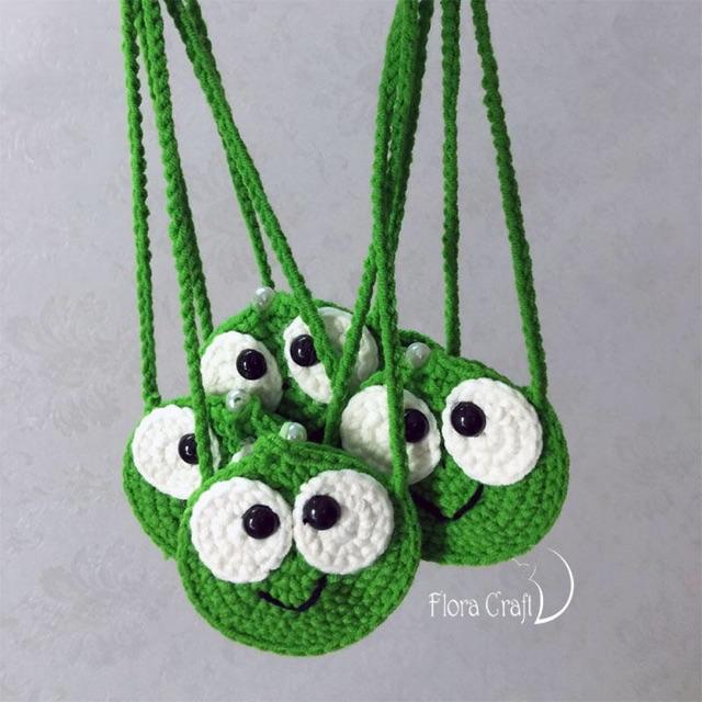Túi đựng tỏi hình ếch xanh bằng len móc cho bé