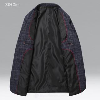 (echi) Áo blazer nam cổ vest kẻ caro phong cách Châu Âu