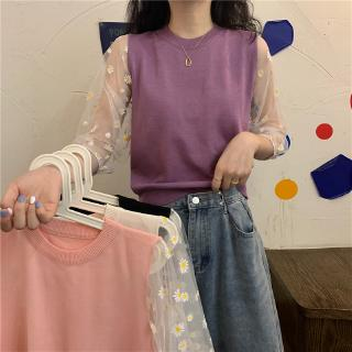daisy bubble bottoming knitted short price ~ real Real shirt small mesh retro chic sleeve pullover sleeve new shot mesh style