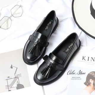TẶNG KÈM 4 KIỂU NƠ XINH Giày Loafer da mềm (Nâu Đen) đế bệt 3p chất đẹp êm, giày moca lười chuẩn size, dễ phối đồ