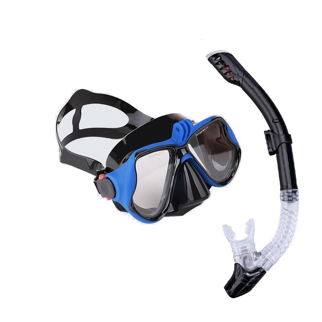 Bộ mặt nạ lặn, Ống thở Gopro - MẮT KÍNH CƯỜNG LỰC gắn được GOPRO, SJCAM, Camera hành trình - POPO Sp