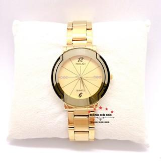 Đồng hồ nam HALEI máy Nhật chính hãng dây kim loại thép mạ vàng không gỉ mặt tròn 36mm chống xước, chống nước tuyệt đối