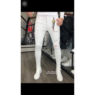 Quần jeans nam trắng rách wash cực cá tính