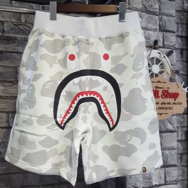 Quần short Bape Cá mập trắng camo siêu ngầu ( Full zip - Ảnh thật )