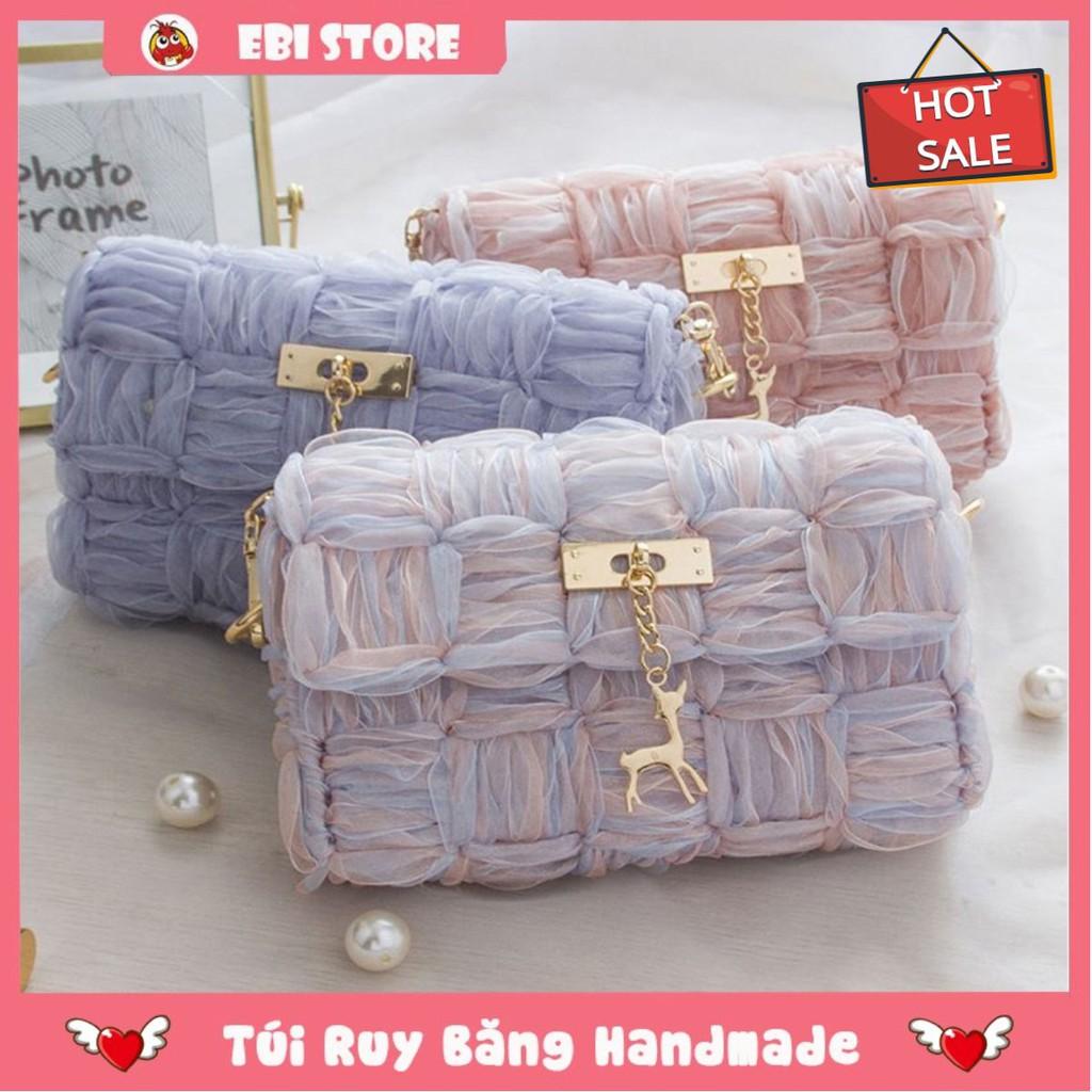 [Xả Hàng] Túi Ruy Băng ❤️ Ebi Store - Freeship ❤️ Túi Tự Đan Bằng Ruy Băng Siêu Hot, Đầy Đủ Phụ Kiện Đan Túi ❤️