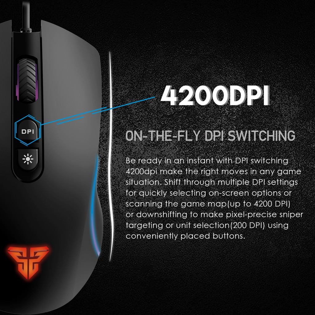 Chuột Gaming 4200 DPI Có Thể Điều Chỉnh Nhiều Chế Độ Khác Nhau, Dây Quang Optical, Chuột 6 Nút Macro  Fantech X16