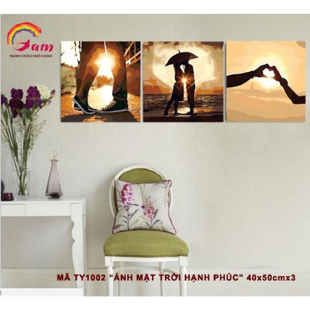 Tranh sơn dầu số hoá tự tô màu bộ 3 bức tình yêu - Mã TY1002 Ánh mặt trời hạnh phúc