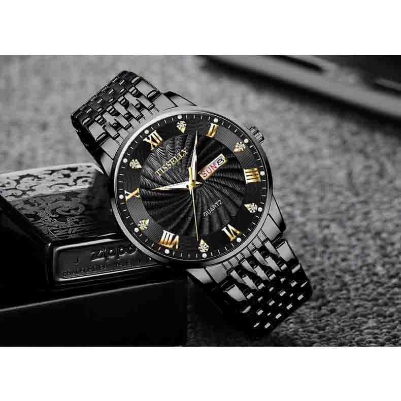 Đồng hồ nam TISSELLY T99 thiết kế sang trọng không thấm nước 3ATM chạy 2 lịch dây hợp