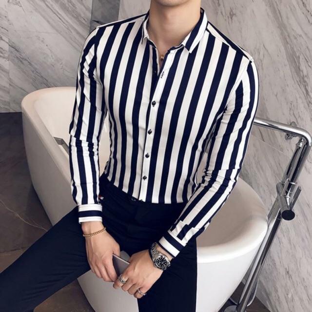Sơ mi kẻ sọc bản to đen trắng phong cách Hàn Quốc trẻ trung, chất lụa co giã